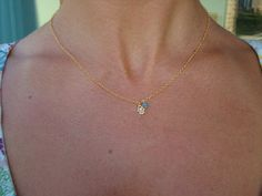 Gold Hamsa Necklace  GOLD FILLED Necklace by cocolocca on Etsy, $23.00