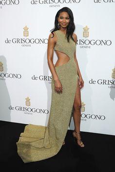 Cannes 2016. Chanel Iman de August Getty Atelier y zapatos de Giuseppe Zanotti en la fiesta de De Grisogono