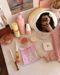 Kylie skin, glow recipe, summer fridays on vanity All Things Beauty, Kylie, Hair Care, Glow, Vanity, Recipe, Summer, Inspiration, Dressing Tables