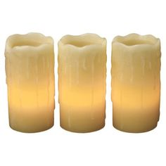 "Lily's Home?? Everlasting Flameless Wax Candles with Drip Effect, Ivory, 4"" x 2"", Set of 3 *** Visit the image link more details."