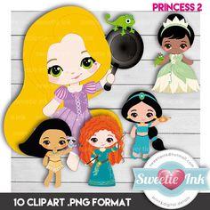 Princess Clipart Digital - pocahontas jasmine merida tiana rapunzel