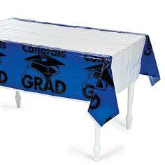 """Blue """"Congrats Grad"""" Tablecloth - OrientalTrading.com"""