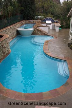 great layout for a small #backyard #pool #hottub #outdoor #kitchen