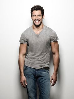 David Gandy in tshirt and jeans