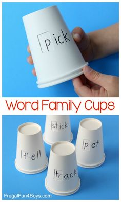 Word Family Cups Phonics Activity for KidsYou can find Phonics activities and more on our website.Word Family Cups Phonics Activity for Kids Teaching Phonics, Teaching Aids, Preschool Learning, Kindergarten Activities, Teaching Reading, Kids Phonics, Jolly Phonics Activities, Phonics Words, Kids Reading