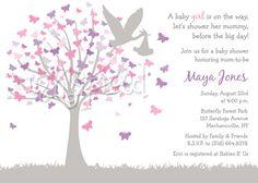 Butterfly Tree Pink Purple Gray Baby Shower by inKspiredDesign, $15.00
