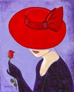 Glamorous ladies in hats Lorraine Dell Wood The artist Lorraine Dell Wood (Lorraine Dell Wood) is a remarkable series of paintings. Red Hat Ladies, Red Hat Society, Illustration Mode, Arte Pop, Red Hats, Painted Rocks, Vintage Art, Decoupage, Pop Art