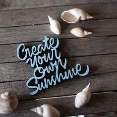 """Der 3D Schriftzug """"Create your own sunshine"""" – ein ganz individuelles Geschenk für einen besonderen Menschen in Deinem Leben, ein persönliches Dekorationsstatement oder einfach ein schöner Spruch. Statements, Motivation, Wooden Signs, Decorative Items, Wands, Create Your Own, Unique Gifts, Mindfulness, Etsy Shop"""