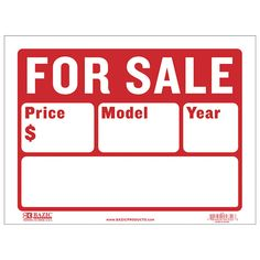 For Sale Sign X Space for Price, Model and Year For Sale Sign, Sale Signs, Price Model, Plastic Signs, Free Cars, Sewing Projects For Beginners, Boats For Sale, Line, Saving Money