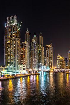 Panoramic night view of Dubai Marina in the Summer.