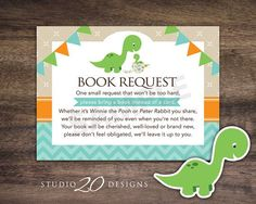 """Instant Download Dinosaur Book Request for Boy Baby Shower by Studio20Designs. This dinosaur Book in Lieu of Card notice is 3.5""""x4.75"""" and comes 4-up on a sheet. Mail one with your invitation for the baby shower to help the mom-to-be stock up on great children's books!"""