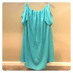 off the shoulder shift dress Teal mini shift dress. Not the best fit, but cute and flirty! Perfect when paired with boots or wedges Tobi Dresses Mini