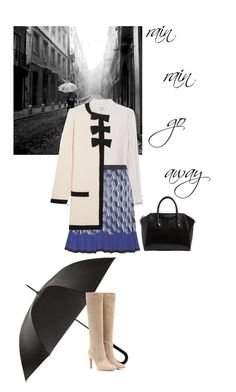 """""""Rain"""" by blueeyed-dreamer ❤ liked on Polyvore featuring Burberry, Frame Denim, Gianvito Rossi, Mary Katrantzou, Boutique Moschino and Givenchy"""