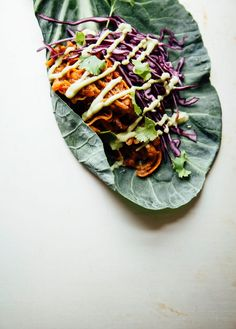 Sticky Sweet Potato Tacos with Avocado Cilantro Sauce | The First Mess Healthy Sandwich Recipes, Vegan Recipes, Healthy Wraps, Sweet Potato Tacos, Cilantro Sauce, Glazed Carrots, Homemade Bbq, Winter Salad, Gluten Free Grains