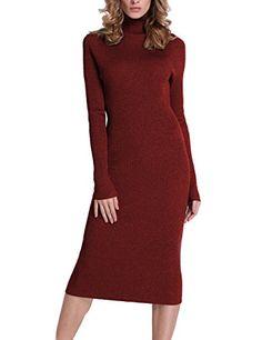 e23ead0183 Roco roca Womens Turtleneck Ribbed Elbow Long Sleeve Knit Sweater Dress  RRW1520141z1S     Find