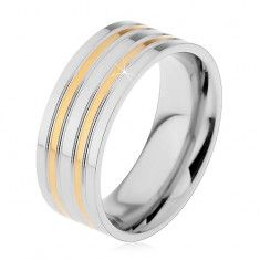Ocelový prsten stříbrné barvy s vyvýšenými pásy ve zlatém odstínu, 8 mm
