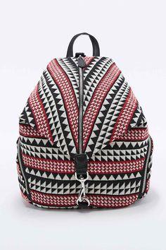 Ecote - Sac à dos zippé triangle noir et rouge à motif tapisserie