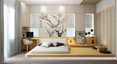 15 Fabulous Japanese Style Bedroom Design Ideas To Make Your Sleep More Comfortable - Japanese interior design style has unique characteristics. Japanese Bedroom Decor, Japan Bedroom, Asian Bedroom Decor, Home Bedroom Design, Modern Kids Bedroom, Modern Minimalist Bedroom, Japanese Home Decor, Minimalist Home, Bed Design