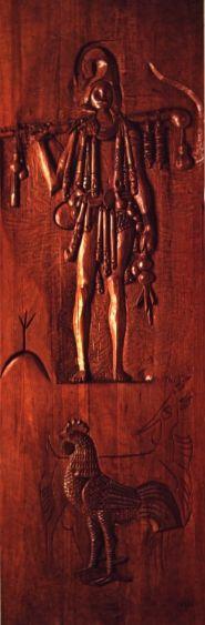 """Portão de ferro, cadeado é de madeira....Exú Veludo, fecha nossa porteira"""" - Exús - Protection Orixás, sculpture of Carybé in wood, exibit in the Museum Afro-Brazilian, Salvador, Bahia, Brasil"""