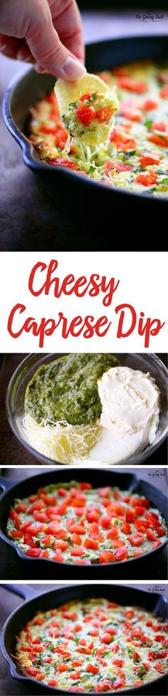 You will become an INSTANT HERO when you arrive at the party with this dip! It is awesome! Hot, cheesy dip with wonderful combination of cheeses, basil, and fresh tomatoes
