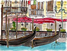 Fifi Flowers Painting du Jour Gallery: Venice Gondolas
