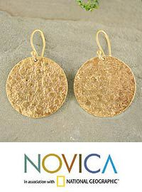 Gold vermeil dangle earrings, 'Summer Sun' at The Animal Rescue Site. $86.99. Luminous like the summer sun, these earrings are captivating. Aparna crafts them by hand with 22k gold plated sterling silver featuring a textured surfaces.