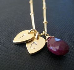 Personalized necklace two gold disc petals custom by NYmetals, $44.50