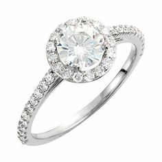 Diamond and Created Moissanite Engagement Ring. #CyberMondaySpecial