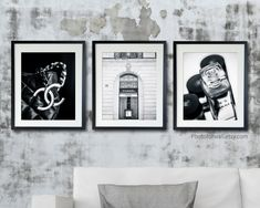Bathroom wall decor set of 3 Chanel makeup prints, black and white photography, Chanel boutique bottle bag bath decoration Paris Wall Decor, White Wall Decor, Wall Decor Set, Bathroom Wall Decor, Bath Decor, Personalized Wall Decor, New York Black And White, Ikea Frames, Large Wall Art