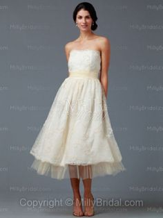 A-line Strapless Tulle Satin Tea-length Lace Ivory Wedding Dresses at Millybridal.com