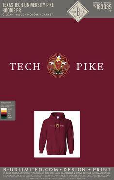 Texas Tech Pi Kappa Alpha PR Hoodie   Fraternity Event   Greek Event #pikappaalpha #pike #pka #texastech Pi Kappa Alpha, Texas Tech University, Fraternity, Hoodies, Sweatshirts, Greek, Embroidery, Design, Needlepoint