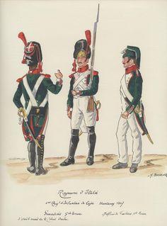 Granatieri e sottufficiale dei fucilieri del 1 rgt. fanteria di linea