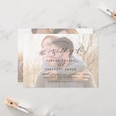 Delicate Calligraphy | Horizontal Photo Wedding Invite. Click to customize with your picture and personalized details today. Photo Wedding Invitations, Beautiful Wedding Invitations, Wedding Invitation Sets, Custom Invitations, Invitation Design, Invite, Colored Envelopes, White Envelopes, Envelope Liners
