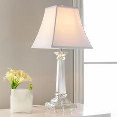 Tapered Square Crystal Column Table Lamp