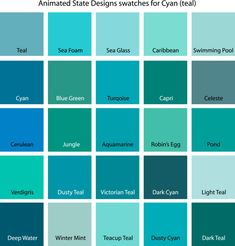 Turquoise painting Colors - Color Swatches for Cyan, Yellow, YellowGreen and Green.