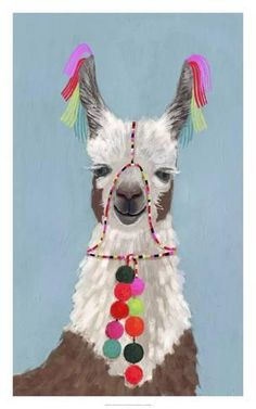 Trademark Fine Art 'Adorned Llama I' Canvas Art by Victoria Borges, White Framed Wall Art, Canvas Wall Art, Canvas Prints, Painting Frames, Painting Prints, Paintings, Artwork Prints, Vivid Colors, Wrapped Canvas