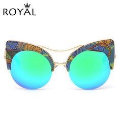 64b55edb95 Aliexpress.com: Comprar ROYAL CHICA Nueva Moda Cat Eye Sunglasses Mujeres  Diseñador de la Marca Gafas de Sol de Espejo de Alta Calidad de Gran Tamaño  Shades ...