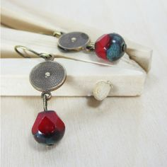 Red, Brown,Verdigris Czech glass brass disc handcrafted jewelry... ($25) ❤ liked on Polyvore featuring jewelry, earrings, ribbon earrings, dangle earrings, hand crafted earrings, long dangle earrings and handcrafted jewelry