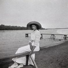 Grand Duchess Tatiana Nikolaevna of Russia at Finnish skerries, Kellosalmi beach. Romanov Collection, General Collection, Beinecke Rare Book and Manuscript Library, Yale University.