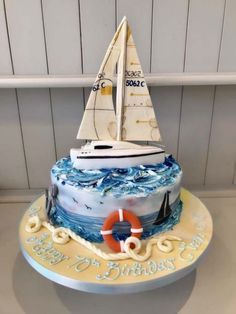 Available for delivery or collection in Edinburgh or Glasgow. Nautical Birthday Cakes, Funny Birthday Cakes, Elegant Birthday Cakes, Nautical Cake, Sailboat Cake, Marine Cake, Anchor Cakes, Sea Cakes, Pink Cakes