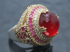 SIZE 9 GLAM STUNNING Very Detaile RUBY RED+WHITE QUARTZ 925 Sterling Silver Ring #CocktailStatementSolitaire