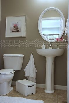 Powder Room Ideas -Comfortable Powder Room Ideas - Dana's DIY Modern Casual Home House Tour Powder Room Paint, Powder Room Design, Powder Rooms, Taupe Paint, Taupe Walls, Murs Taupe, House Tweaking, Ideas Hogar, Living Room Mirrors