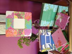 Crafts using Lilly Pulitzer agenda paper and mod podge. Coasters, frame, and wall decor!
