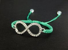Adjustable Macrame Bracelet with Rhinestone Infinity Symbol