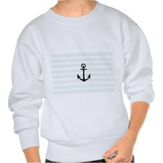 Anchor and Beach Hut Blue Stripes Pull Over Sweatshirts