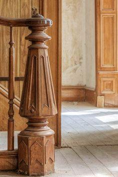 folk victorian carved walnut newel.