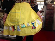 Vintage washing day apron complete with mini clothesline. Perfect for your pegs.