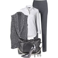 Silver Chic by orysa on Polyvore featuring NIC+ZOE, WACKERHAUS, Casadei and MM6 Maison Margiela