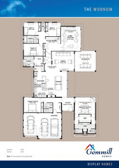 a little small, but good layout - add a powder bath to nook next to laundry for guest use / pwdr bath: close it off from entry for private bath for child Best House Plans, Dream House Plans, House Floor Plans, Autocad, Study Nook, Study Space, Courtyard House Plans, Bedroom House Plans, Display Homes