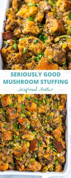 Loaded with fresh mushrooms, onions, sage, and thyme this homemade mushroom stuffing is deeply flavorful and absolutely delicious. Quick Recipe Videos, A Food, Good Food, Easy Thanksgiving Recipes, Turkey Broth, Stuffed Mushrooms, Stuffed Peppers, Mushroom And Onions, Stuffing Recipes